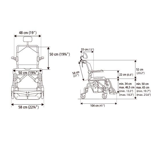 Etac Swift Mobile Tilt Banyo ve Tuvalet Sandalyesi 6
