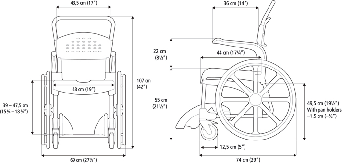 Clean 24 inc banyo tuvalet sandalyesi ölçüler