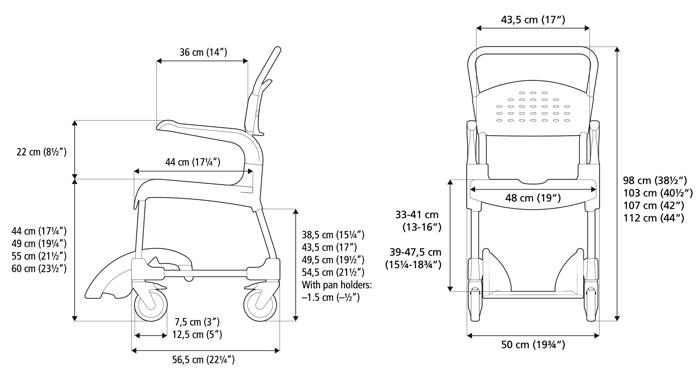 Etac Clean Banyo Tuvalet Sandalyesi Ölçüler