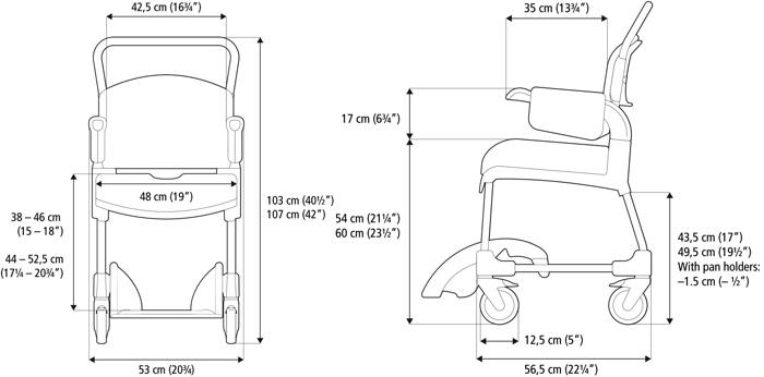 Etac Clean Comfort Banyo Tuvalet Sandalyesi Ölçüler