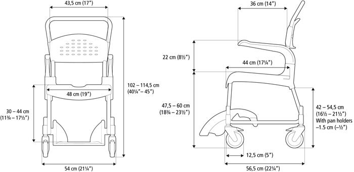 Etac Clean Yükseklik Ayarlı Banyo Tuvalet Sandalyesi Ölçüler